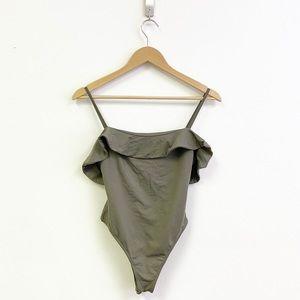 Kookai || Olive Green Ruffle Flutter Bodysuit 2